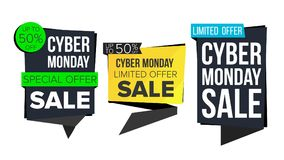 Cyber Monday Sale Banner Collection Vector. Online Shopping. Website Stickers, Cyber Web Page Design. Monday Advertising. Cyber Monday Sale Banner Set Vector Royalty Free Stock Photos