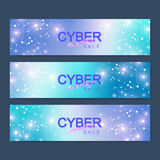 Cyber Monday Sale banner design. Graphic abstract background communication. Vector illustration. Stock Photos