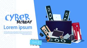 Cyber Monday Sale Banner Design With Pile Of Modern Electronics Gadgets   Stock Photography