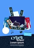 Cyber Monday Sale Banner Design With Pile Of Modern Electronics Gadgets   Stock Image