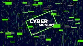 Cyber monday sale banner. Electronic digital Glitch or noise. Geometric chaos motion. Friday sale. Banner Stock Photo