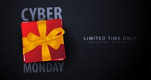 Cyber Monday Sale banner with gifts. Binary code background. Vector illustration. Cyber Monday Sale banner with gifts. Binary code background. Vector Stock Image