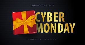 Cyber Monday Sale banner with gifts. Binary code background. Vector illustration. Cyber Monday Sale banner with gifts. Binary code background. Vector Stock Photo