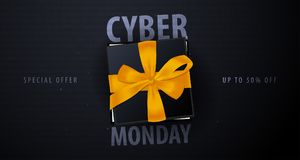 Cyber Monday Sale banner with gifts. Binary code background. Vector illustration. Cyber Monday Sale banner with gifts. Binary code background. Vector Royalty Free Stock Images