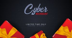 Cyber Monday Sale banner with gifts. Binary code background. Vector illustration. Cyber Monday Sale banner with gifts. Binary code background. Vector Royalty Free Stock Image