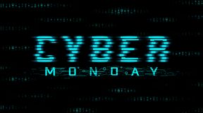 Cyber monday sale banner. Hud style, glitch effect. Binary code background vector illustration