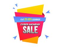 Cyber Monday sale banner or label design with 20-50% discount of. Fer on white background stock illustration