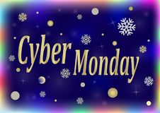 Cyber Monday Sale Banner and Label for Website. Vector illustration Stock Photos