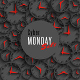 Cyber monday sale banner, mockup special promo poster or flyer, 3d clock and round area for advertising Royalty Free Stock Photos