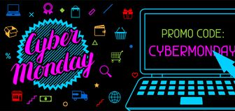 Cyber monday sale banner. Online shopping and marketing advertising concept Stock Photo