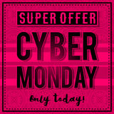 Cyber Monday sale banner on pink patterned background, vector stock photos