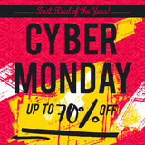 Cyber Monday sale banner on red patterned background, vector Stock Photo