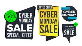 Cyber Monday Sale Banner Set Vector. Discount Tag, Special Monday Offer Banners. November Good Deal Promotion. Discount. Cyber Monday Sale Banner Set Vector Royalty Free Stock Photography