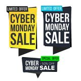 Cyber Monday Sale Banner Set Vector. November Online Shopping. Discount Banners. Monday Sale Banner Tag. Cyber Price Tag. Cyber Monday Sale Banner Collection Stock Images