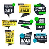 Cyber Monday Sale Banner Set Vector. November Sale Technology Banner. Website Stickers, Cyber Web Page Design. Up To 50. Cyber Monday Sale Banner Set Vector Stock Photos
