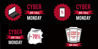 Cyber monday sale banner set witn black background.Vector illustration graphic. Cyber monday sale banner set witn black background.Vector illustration graphic Royalty Free Stock Photography