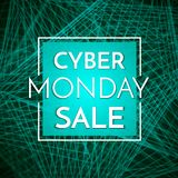 Cyber Monday Sale banner template. Dark background with white te royalty free illustration