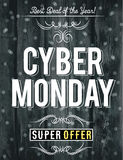 Cyber monday sale banner on wooden black background, vector stock photo