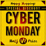 Cyber Monday sale banner on yellow patterned background, vector stock photo