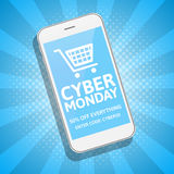 Cyber Monday sale blue background with smartphone. Online shopping concept. E-commerce, retailing, discount theme. Stock Image