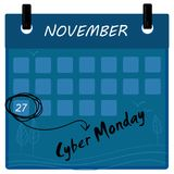 Cyber Monday 2017 sale calendar. Background. 27 th of november Royalty Free Stock Photos