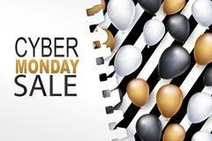 Cyber Monday Sale card background. Big discount of the year design concept with shiny balloons