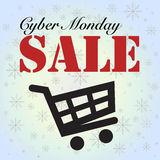 Cyber Monday sale cart isolated on blue Royalty Free Stock Image