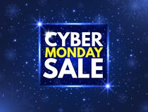 Cyber Monday sale concept banner. Luminous signboard, nightly advertising. Annual sale background. Good deal promotion. Cyber Mond. Ay label for website. Vector stock illustration