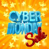 Cyber Monday Sale. A Cyber Monday Sale design with 3d letters and yellow stars Royalty Free Stock Image