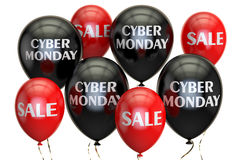 Cyber Monday, sale and discount concept with balloons. 3D render. Ing on white background Royalty Free Stock Images