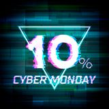 Cyber monday sale discount poster or banner with glitch. Cyber monday sale discount poster or banner with triangle sign and glitch text up to 10 percent off Royalty Free Stock Photo