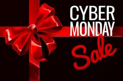 Cyber Monday Sale Gift Ribbon Bow Sign. A Cyber Monday Sale sign with a red gift present ribbon and bow Royalty Free Stock Image