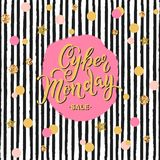 Cyber Monday Sale hand drawn lettering. Stock Image