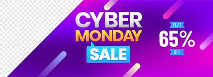 Cyber Monday Sale header or banner design with 65% discount offe. R on shiny purple background with space for your product image vector illustration