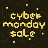 Cyber monday sale hexagonal. Cyber monday sale concept by hexagonal futuristic letters on black dackground. Vector stock illustration for discount offer, online Royalty Free Stock Images