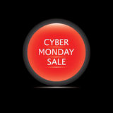 Cyber Monday Sale icon glass red round isolated on a black background vector Royalty Free Stock Photos