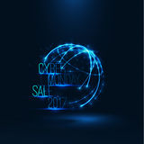 Cyber monday sale 2017 illustration . Big global sale . Geometric technology shape of glowing particles . Vector background . Technology poster with glitch Stock Photo