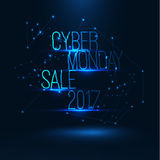 Cyber monday sale 2017 illustration . Big global sale . Geometric technology shape of glowing particles . Vector background . Technology poster with glitch Stock Image