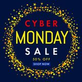 Cyber monday sale label banner yellow stars on navy blue background 50% off Royalty Free Stock Photo
