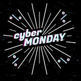 Cyber Monday Sale label. Template design web banner for cyber monday offer. Promotion design in glitch, retro style with stock illustration
