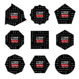 Cyber monday sale labels set. Collection of nine bright stickers of geometric shapes for your design. Vector stock illustration Royalty Free Stock Photo