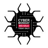 Cyber monday sale labels set. Collection of nine bright stickers of geometric shapes for your design. Vector stock illustration Royalty Free Stock Image