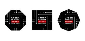 Cyber monday sale labels set. Collection of three stickers of geometric shapes for your design. Vector stock illustration Royalty Free Stock Photography