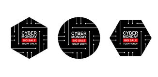 Cyber monday sale labels set. Collection of three stickers of geometric shapes for your design. Vector stock illustration Stock Image