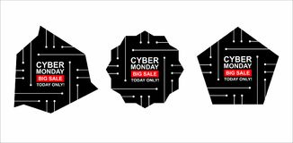 Cyber monday sale labels set. Collection of three stickers of geometric shapes for your design. Vector stock illustration Stock Photos