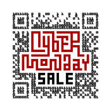 Cyber Monday Sale Lettering with QR-code consist of binary code Royalty Free Stock Photos