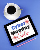 Cyber Monday Sale message on black computer tablet device Stock Photography