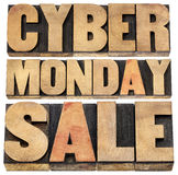 Cyber Monday sale. Online shopping and marketing concept - isolated text in letterpress wood type blocks Royalty Free Stock Photo