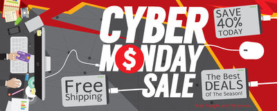 Cyber Monday Sale 8000x3200 pixel Banner. Vector Illustration Royalty Free Stock Photos