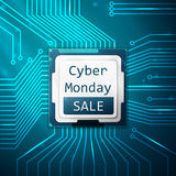 Cyber Monday Sale poster, electronic circuit board Stock Photo